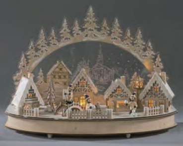 XL Candle Arch Winter City With acrylic glass